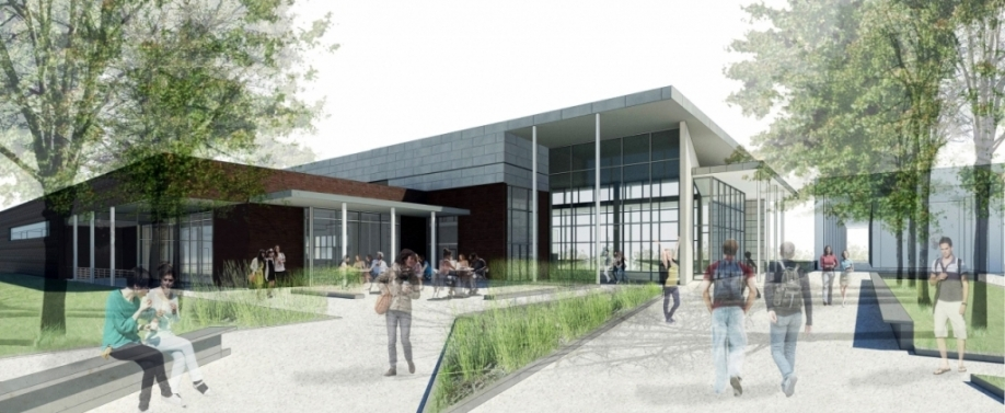 Architect's rendering of new dining hall: the view from University Drive