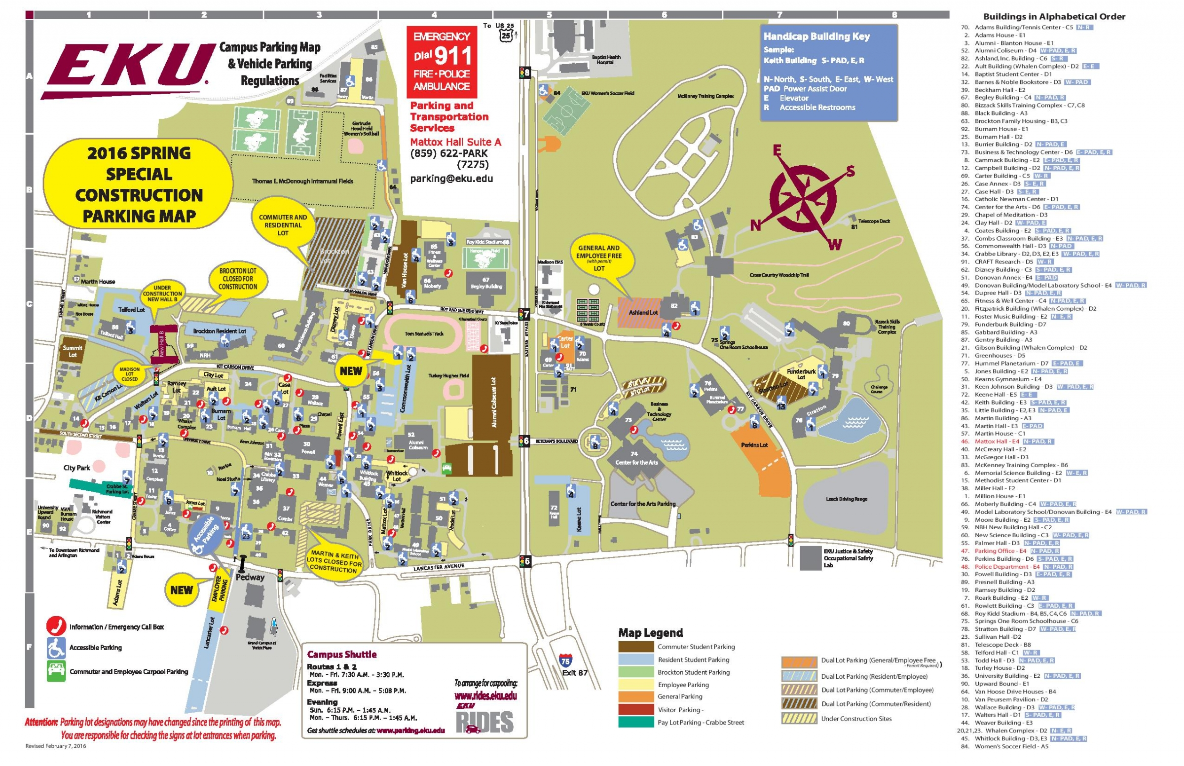 Campus Parking Update and Changes for February 7, 2016 | EKU